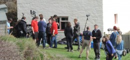 Tom Hiddleston filming The Night Manager at Blackpool Mill 2015